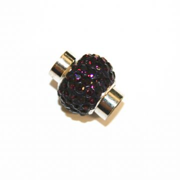 7mm- 17mm*14mm Purple stone pave crystal magnetic clasps -rhodium-30